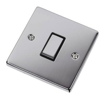 Polished Chrome Intermediate Switch - 1 Gang - With Black Interior