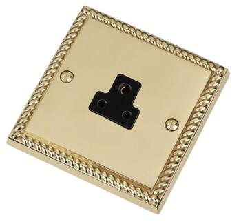 Georgian Brass Single Round Pin Socket - 2A 1 Gang - With Black Interior