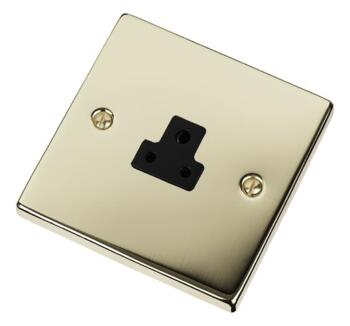 Polished Brass Single Round Pin Socket - 2A 1 Gang - With Black Interior