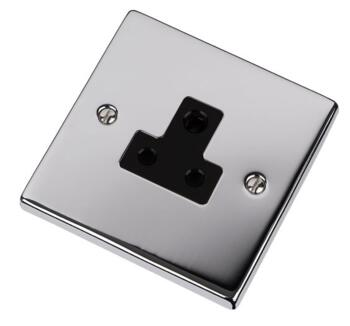 Polished Chrome Single Round Pin Socket 5A 1 Gang - With Black Interior