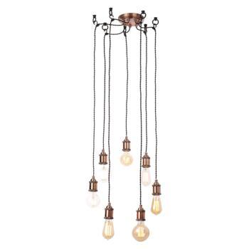Antique Copper Vintage Cord 7 Pendant Light - Fitting