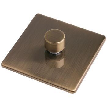 Screwless Antique Brass LED Empty Dimmer - Single 1 Gang