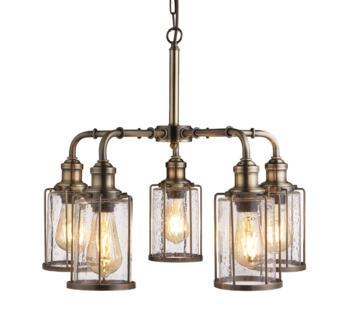 5 Light Ceiling Pendant Antique Brass Finish  - 1265-5AB