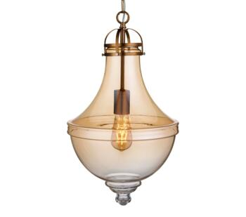 1 Light Vintage Pendant Light Amber Glass Satin Bronze  - 1458AM