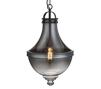 Vintage 1 Light Pewter Pendant Light Smoked Glass  - 1458SM