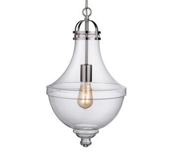 1 Light Vintage Pendant Light Clear Glass Stainless Steel - 1458CL