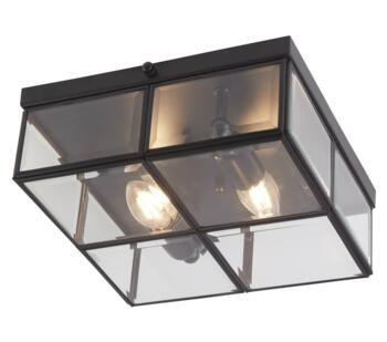 2 Light Flush Ceiling Light Matt Black Finish  - 6769-26BK