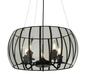 5 Light Bound Pendant Black & Clear Glass  - 9515-5BK