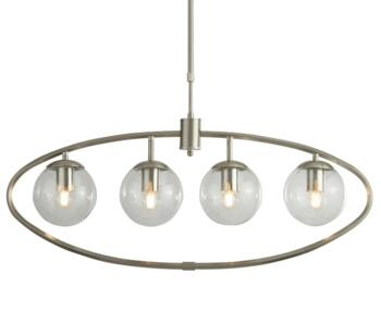 4 Light Satin Silver Ceiling Pendant Glass  - 8064-4SS