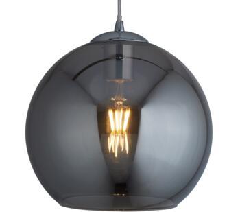 Round Smoked Glass Pendant Light - 300mm