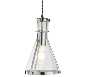 Chrome Pendant Ceiling Light Conical Glass - 8201CC