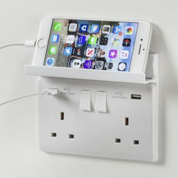 White Foldaway Phone Holder For USB Sockets - 2 Gang