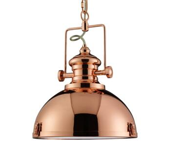 Metal Pendant With Acrylic Diffuser - Copper