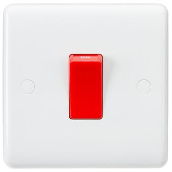 White 45A DP Cooker / Shower Switch - 1 Gang