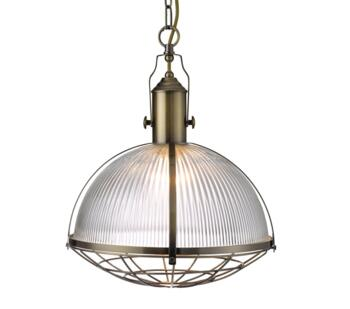 Antique Brass Pendant Ribbed Glass Shade - 7601AB