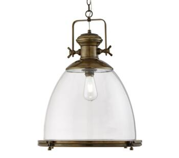 Antique Brass Industrial Pendant/Clear Glass  - 6659