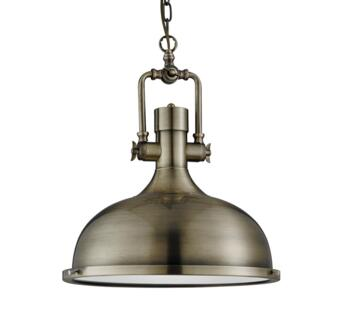 Industrial Pendant with Frosted Diffuser AB - Antique Brass