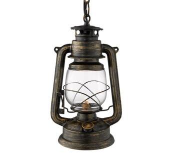 Industrial Pendant Lantern Black Gold/White Glass  - 3841-1BG
