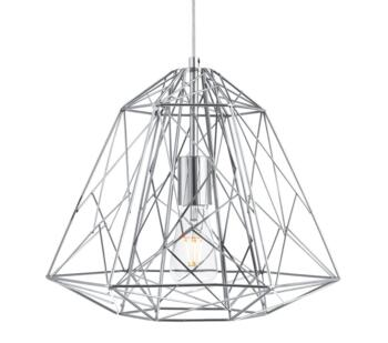 Geometric Chrome Cage Pendant Light - 7271CC
