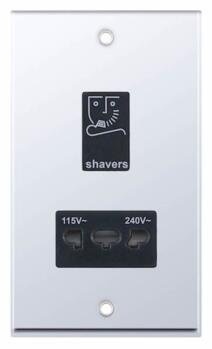 Polished Chrome Shaver Socket - Black Insert - Dual Voltage