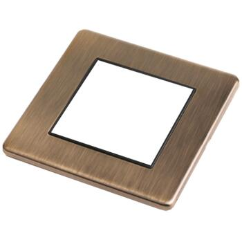 Screwless Antique Brass Empty Eurodata Plate - Single Plate 2 Module