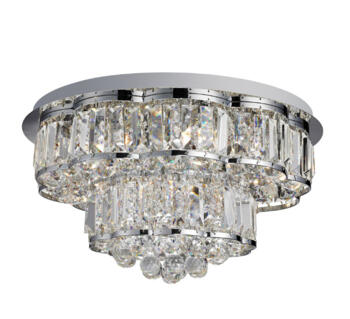 Hayley Chrome 6 Light Ceiling Fitting With Crystal Drops - 8376-6CC