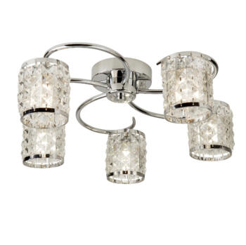 Royal Chrome Ceiling Light With Crystal Glass - 8785-5CC