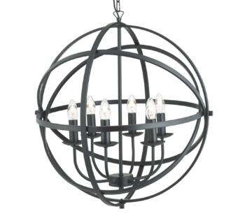 Matt Black 6 Light Cage Pendant  - 2476-6BK