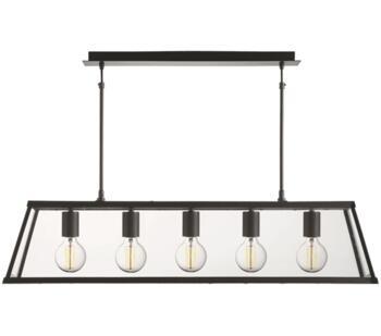 Matt Black 5 Light Box/Bar Pendant - 4614-5BK