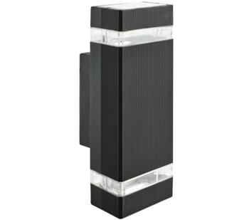 Black 2 Light Outdoor Wall Light/Clear Diffuser - 1002-2BK-LED