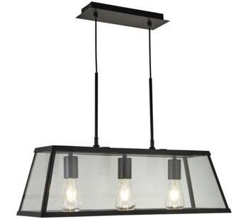 Matt Black 3 Light Box/Bar Pendant  - 4613-3BK