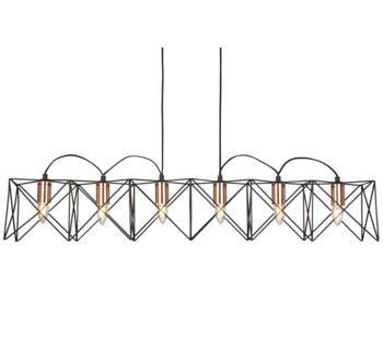 Matt Black 6 Light Frame Pendant With Copper  - 8416-6BK