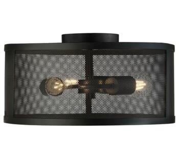 Fishnet Matt Black 3 Light Cage Flush Ceiling Fitting - 2843-3BK
