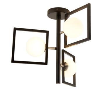 Matt Black 3 Light Ceiling Light With White Glass Globes - 4833-3BK