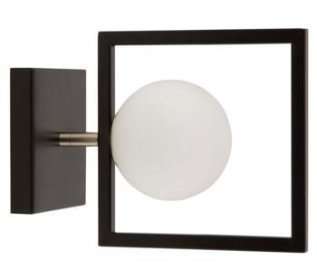 Matt Black 1 Light Wall Light With White Glass Globe - 4831BK