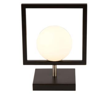 Matt Black 1 Light Table Lamp With White Glass Globe - 4830BK