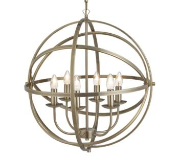 Antique Brass Cage 6 Light Pendant  - 2476-6AB