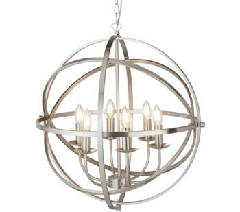 Satin Silver Cage 6 Light Pendant  - 2476-6SS