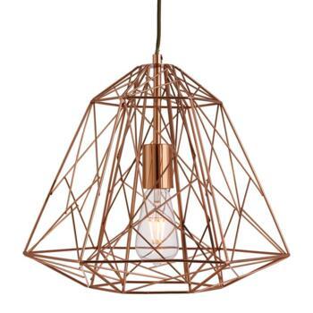 Geometric Copper Cage Pendant Light - 7271CU