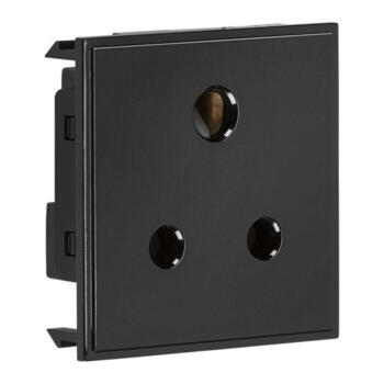 5Amp 1G Unswitched Round Socket Module - Black