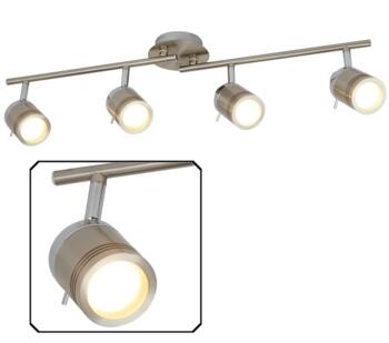 Satin Silver Samson 4 Light Bathroom Split Bar Spotlight - 6604SS