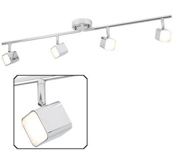 Quad 4 Light Chrome LED Square Head Split Bar Spotlight  - 4234CC