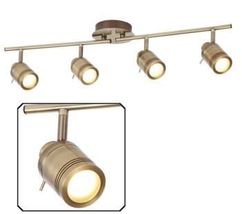 Antique Brass 4 Light Bathroom Split Bar Spotlight - 6604AB