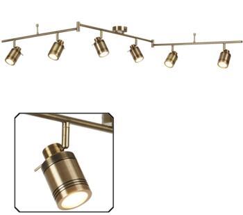 Antique Brass 6 Light Bathroom Split Bar Spotlight - 6606AB