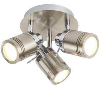 Satin Silver 3 Light Bathroom Plate Spotlight - 6603SS