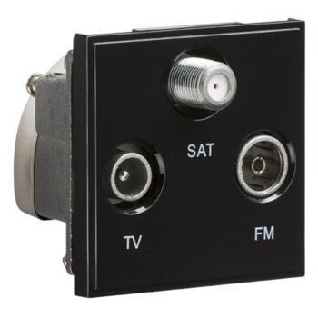 Triplexed TV /FM DAB/ SAT TV Outlet Module - Black
