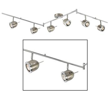 Satin Silver 6 Light Track Spotlight  - 4926SS