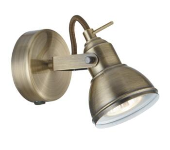 Antique Brass 1 Light Switched Spotlight - 1541AB