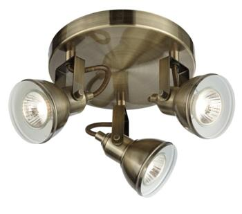 Antique Brass 3 Light Plate Spotlight - 1543AB