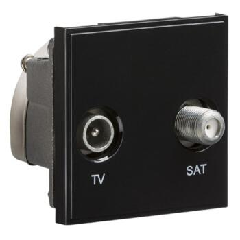Diplexed TV /SAT TV Outlet Module - Black